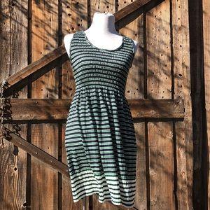 NWT Max Studio Blue Green White Stipe Dress
